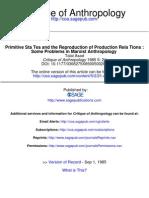 Estados Primitivos y La Reproduccion de Las Relaciones de Produccion-Algunos Problemas de Analisis Marxista Antropologico
