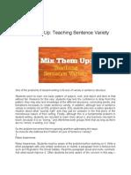 Teaching Sentence Variety