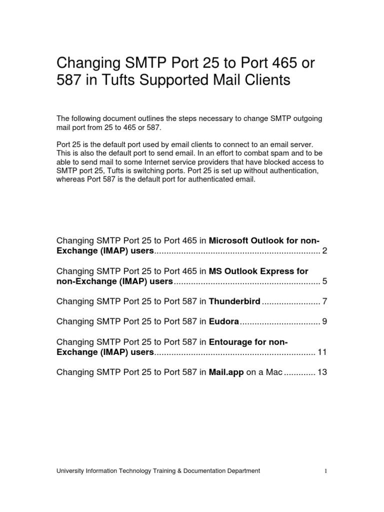 Smtp Port Change | Email | Port (Computer Networking)