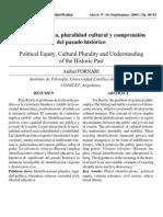 Equidad política, pluralidad cultural y comprensión del pasado histórico rrr