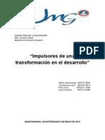 Impulsores de una transformación en el desarrollo SOCIOLOGIA