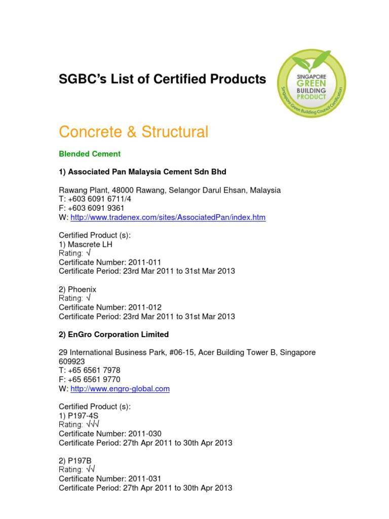 Certified Products Listing As At 18 Oct 2012 Horticulture And Gardening Building Engineering