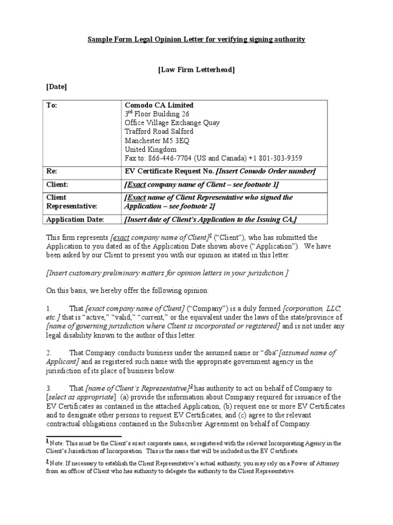 Sample form legal opinion letterc lawyer common law thecheapjerseys Choice Image
