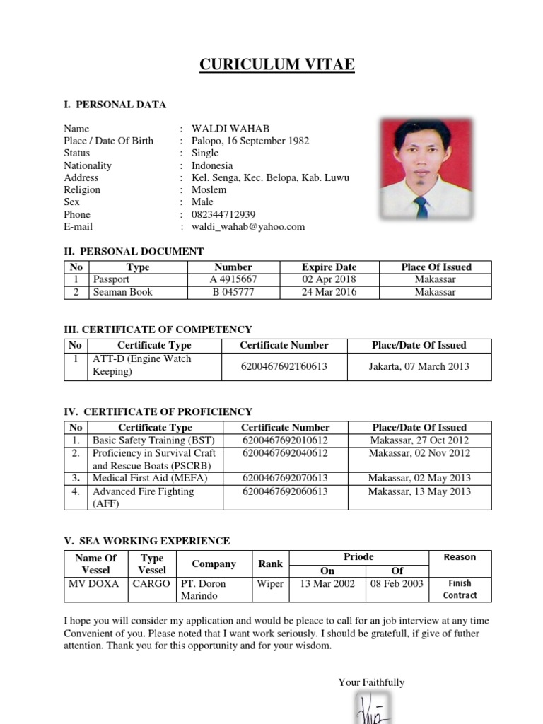 seafarer resume sample