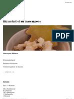 Riz Au Lait Et Au Mascarpone   Gourmie