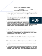 Sample Final Exam - Managerial Finance
