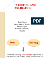 Data editing and validation