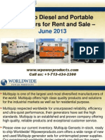Multiquip Diesel and Portable Generators for Rent and Sale - June 2013