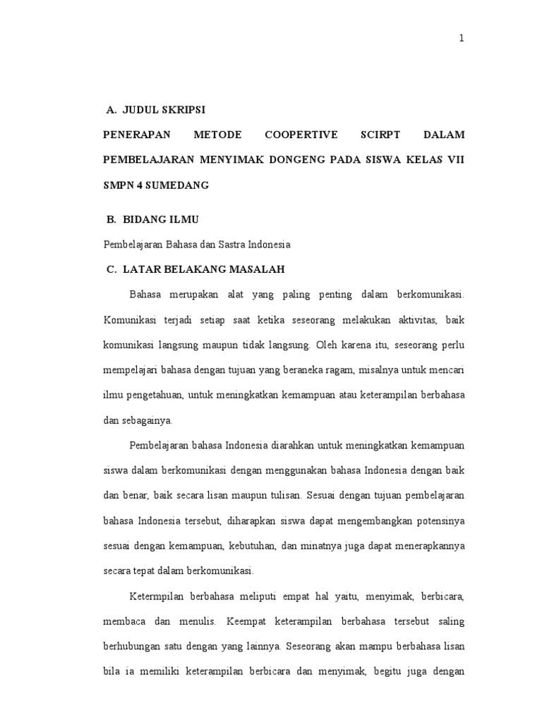 Proposal Skripsi Pendidikan Bahasa Dan Sastra Indonesia