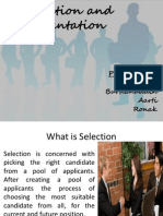 Selection and Orientation