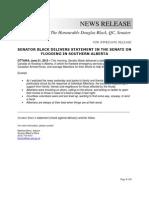 NEWS RELEASE - Senator Black - Statement on Flooding in Southern Alberta - June 21 2013