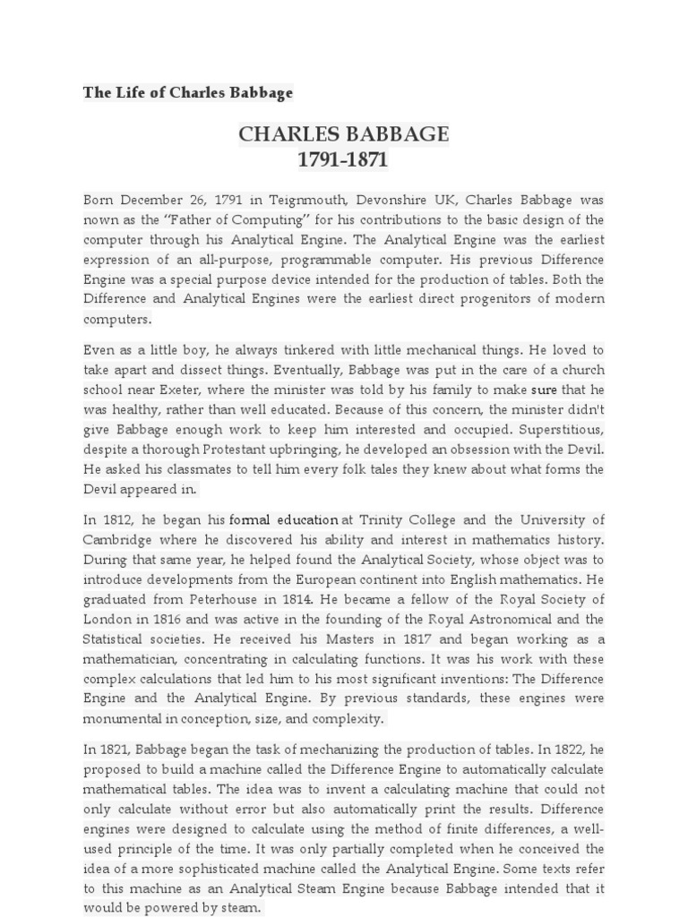 charles babbage contribution
