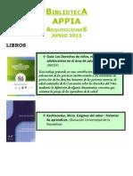 Biblioteca APPIA - Adquisiciones Jun 2013