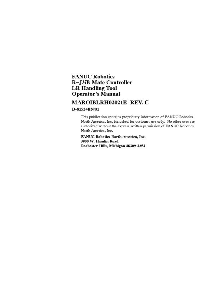 fanuc operator manual robot technology rh scribd com Fanuc Robot fanuc robotics handling tool application programming training manual