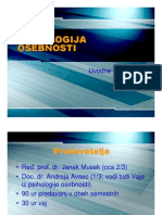 PSIHOLOGIJA OSEBNOSTI Psihologija Pregled Tematike Predavanj