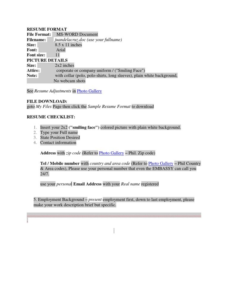 Resume Format In Philippines Philippines Resume