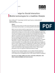 Service Design for Social Interaction: Mobile technologies for a healthier lifestyle