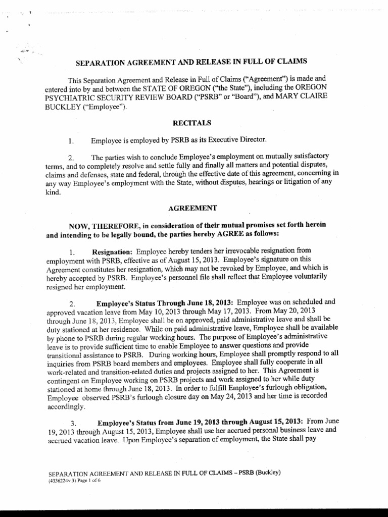 Buckley Separation Agreement | Civil Rights Act Of 1964 | Employment