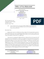 Tom Kirkendall Letter to U.S. Judge Sim Lake Regarding the Resentencing of Jeff Skilling