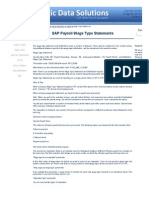 SAP HR and Payroll Wage Type Statement