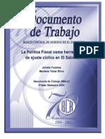 La Politica Fiscal Como Herramienta de Ajuste Ciclico en El Salvador