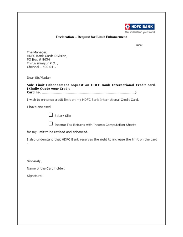 credit card form of hdfc bank