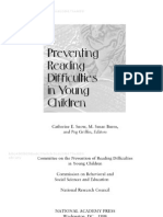 Preventing Reading Difficulties in Young Children Front Matter