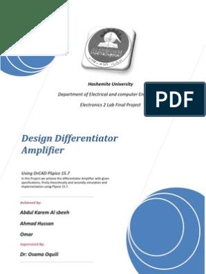 Design Differentiator Amplifier   Operational Amplifier