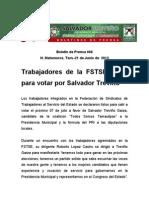 Trabajadores de la FSTSE listospara votar por Salvador Treviño