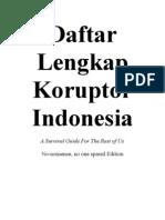 Daftar Lengkap Koruptor Indonesia