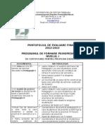 Portofoliul de Evaluare Finala DPPD 2012 2013