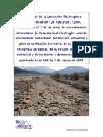 Alegaciones de Río ARAGÓN al modificado 3 de Yesa, 2009
