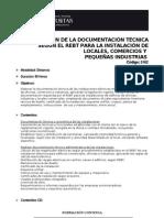 Elaboracion de La Documentacion Tecnica Segun El Rebt Para La Instalacion de Locales Cert 5162