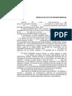 ACTA DE REUNIÓN MENSUAL-MODELO