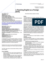Master of Education Teaching English as a Foreign Language Tefl