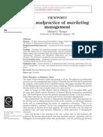 Malpractice of Marketing Management