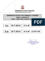 Admn Date for General