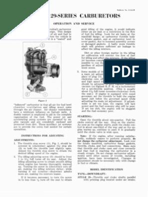 Zenith Carburetor Model 29 Service Manual | Carburetor