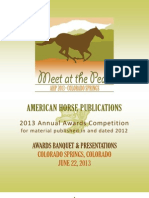 American Horse Publications Awards Program 2013