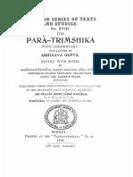 The Para Trimshika With Abhinvaguptas Commentary KSTS XVIII