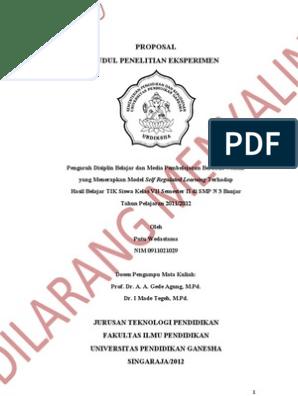 Contoh Proposal Penelitian Eksperimen Pendidikan Sekolah Dasar Berbagi Contoh Proposal