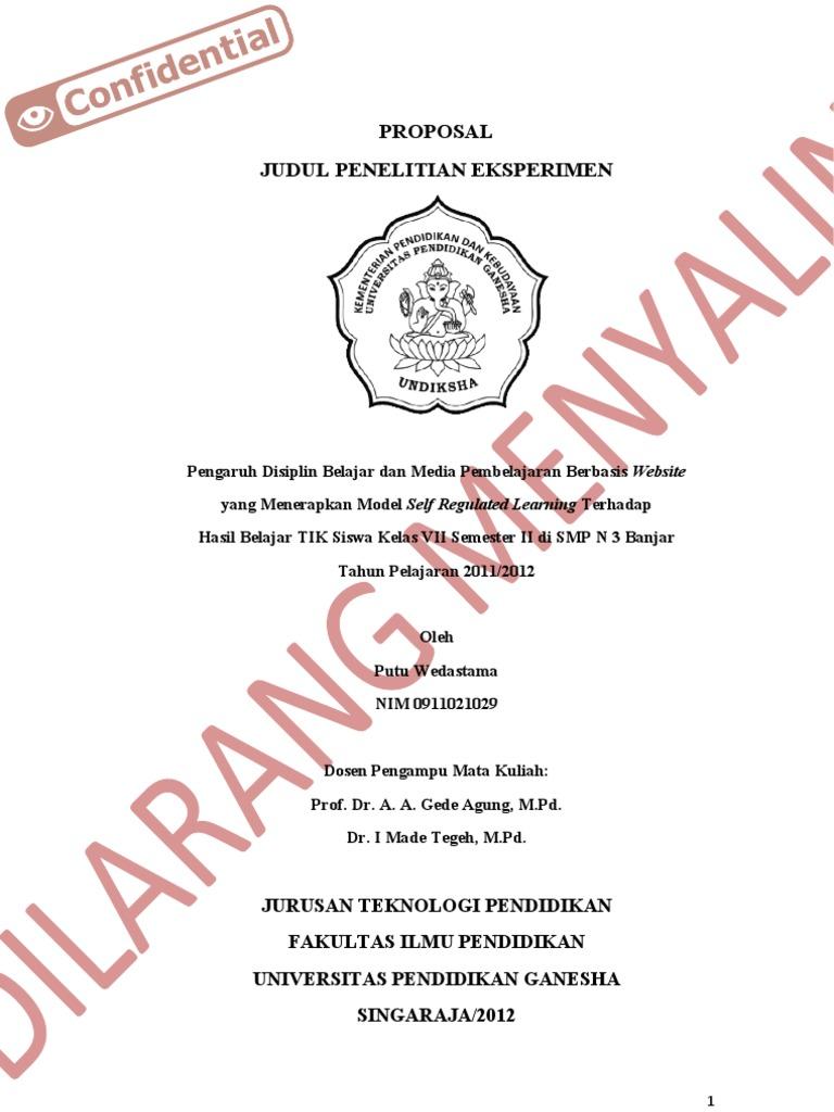 Contoh Proposal Eksperimen