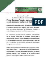 Firma Salvador Treviño compromisoscon la sociedad cultural de Matamoros