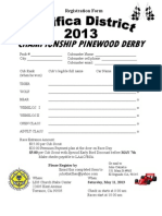 Pacifica District Pine Wood Derby Rules