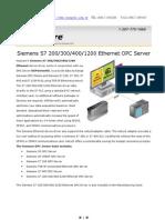 Siemens TCPIP Ethernet Datasheet