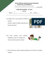 Ficha de Trabalho - Divisão - 5º ano