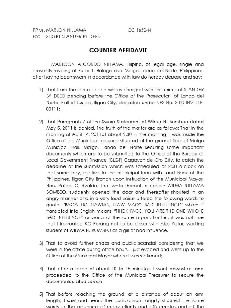 Counter Affidavit SAMPLE – Affidavit of Facts Template