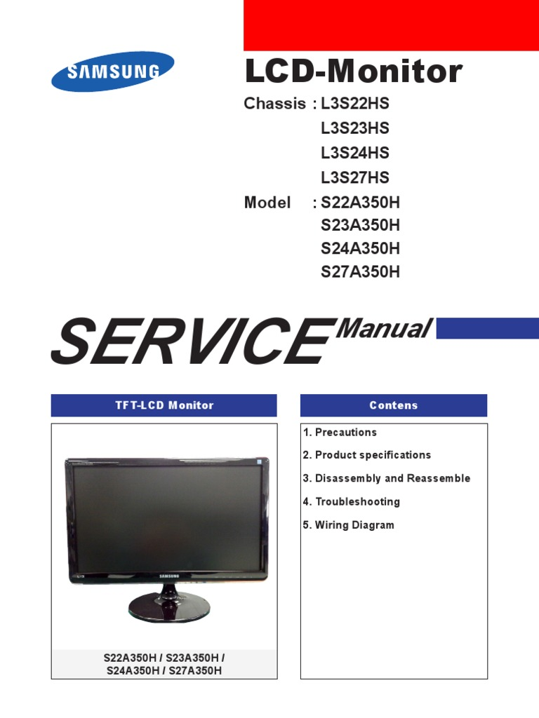 s24a350h service manual samsung electrostatic discharge rh scribd com LCD Monitor Circuit LCD TV Circuit Diagram