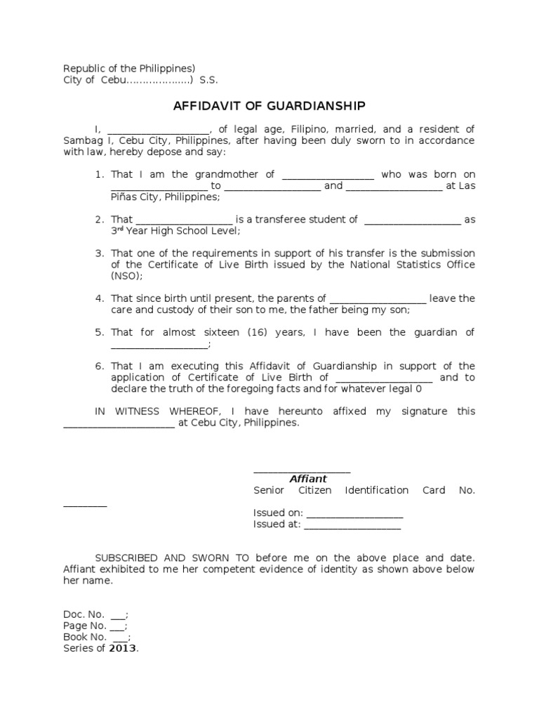 Affidavit of guardianship yadclub Image collections