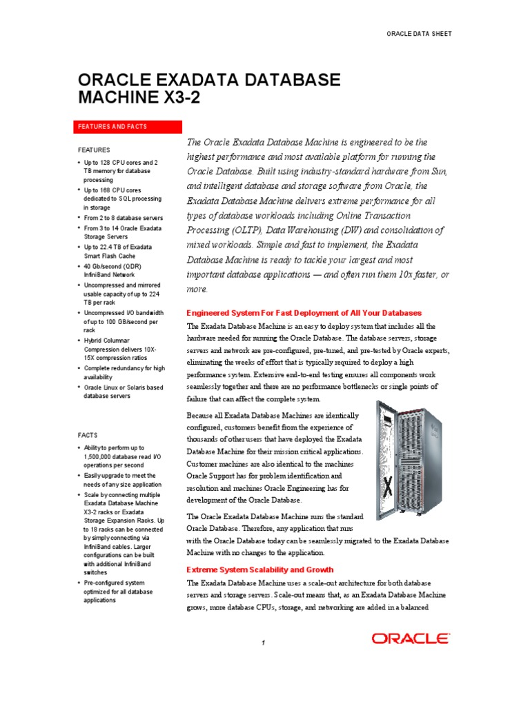 Oracle EXADATA X3-2_DataSheet | Oracle Database | Scalability